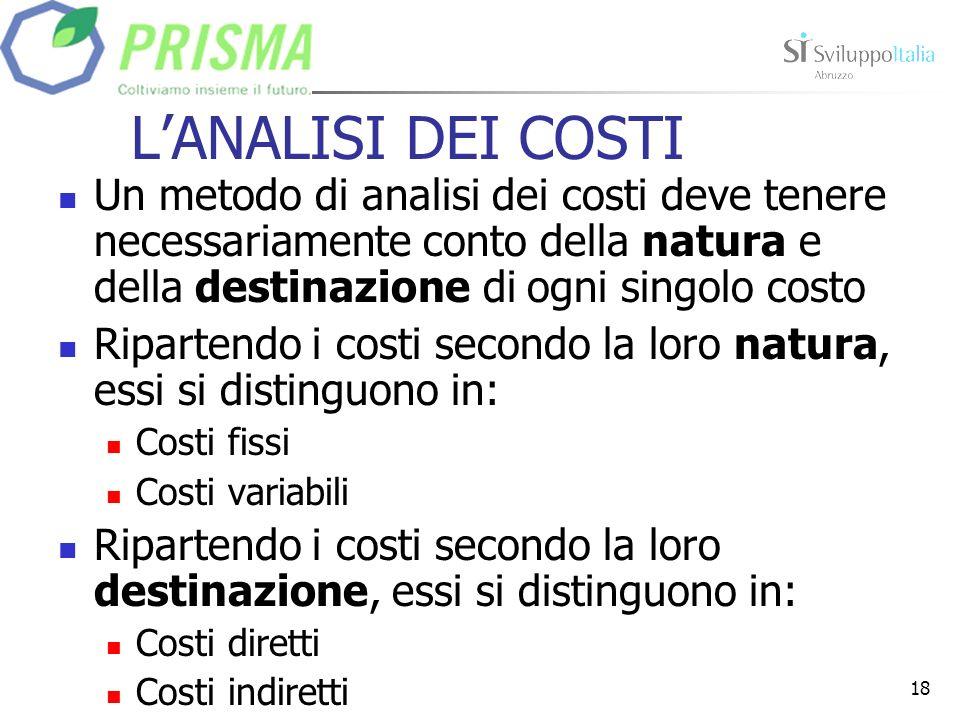 L'ANALISI DEI COSTI Un metodo di analisi dei costi deve tenere necessariamente conto della natura e della destinazione di ogni singolo costo.