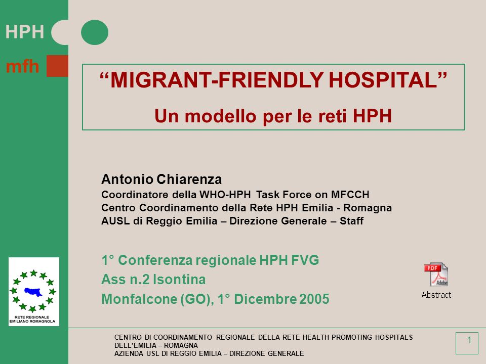 MIGRANT-FRIENDLY HOSPITAL Un modello per le reti HPH