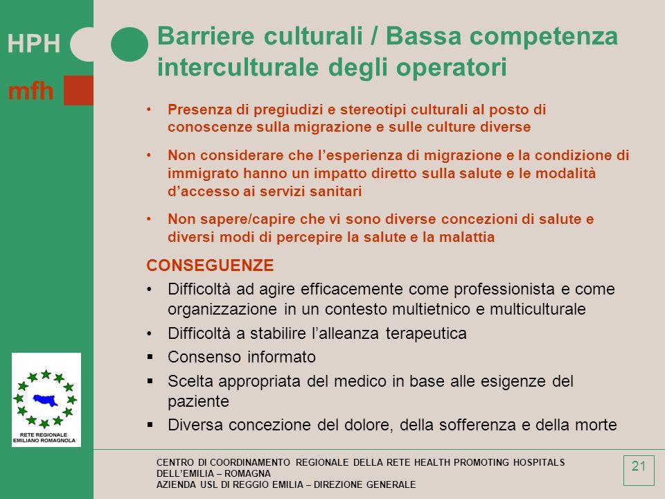 Barriere culturali / Bassa competenza interculturale degli operatori