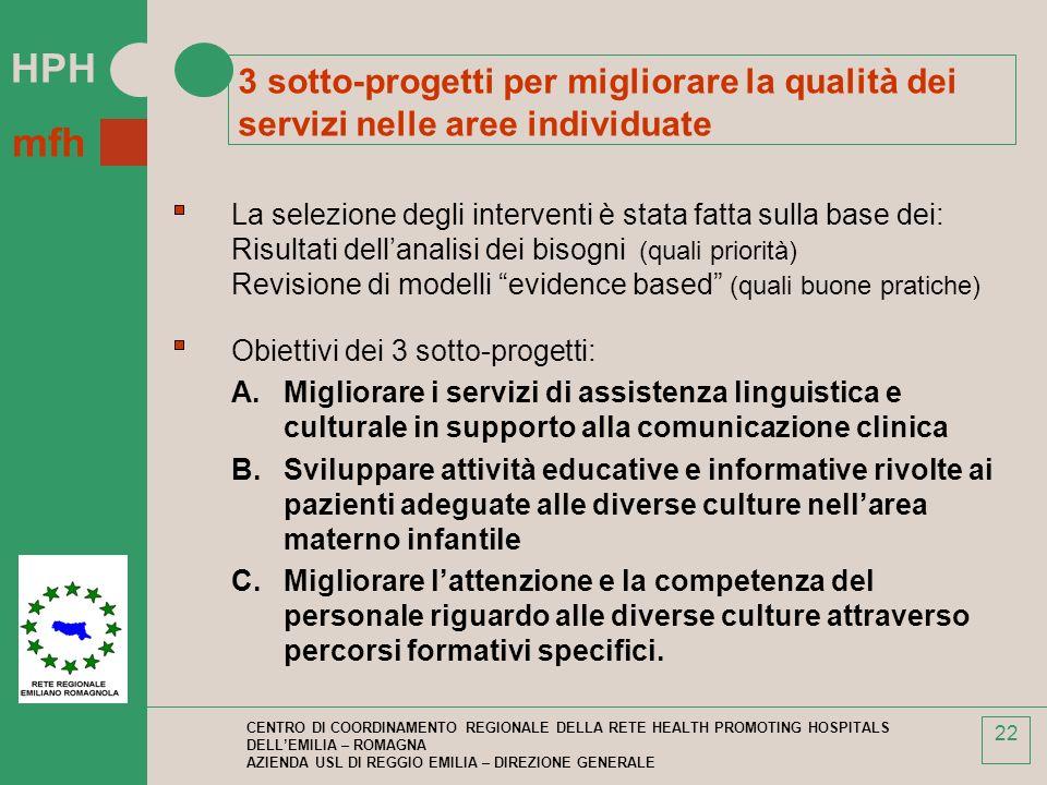 3 sotto-progetti per migliorare la qualità dei servizi nelle aree individuate