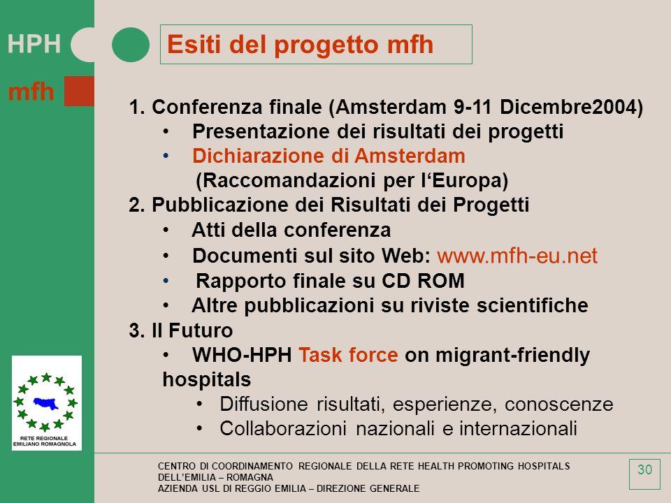 Esiti del progetto mfh 1. Conferenza finale (Amsterdam 9-11 Dicembre2004) Presentazione dei risultati dei progetti.