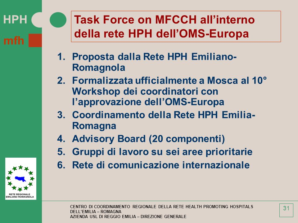 Task Force on MFCCH all'interno della rete HPH dell'OMS-Europa