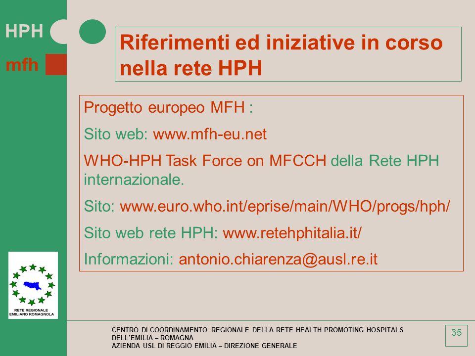 Riferimenti ed iniziative in corso nella rete HPH