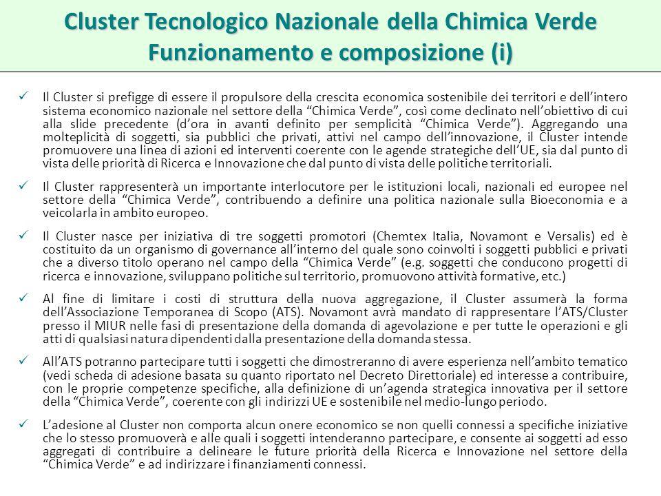 Cluster Tecnologico Nazionale della Chimica Verde Funzionamento e composizione (i)