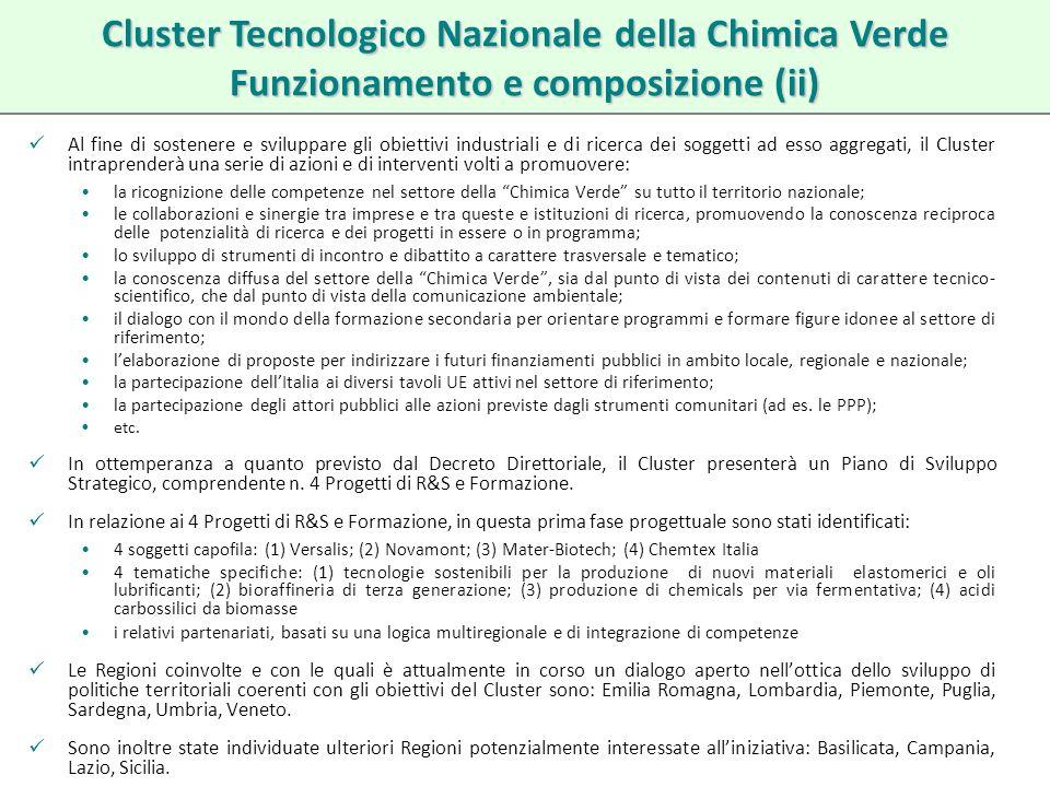 Cluster Tecnologico Nazionale della Chimica Verde Funzionamento e composizione (ii)