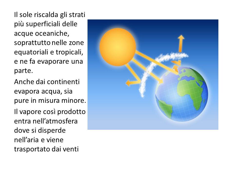 Il sole riscalda gli strati più superficiali delle acque oceaniche, soprattutto nelle zone equatoriali e tropicali, e ne fa evaporare una parte.