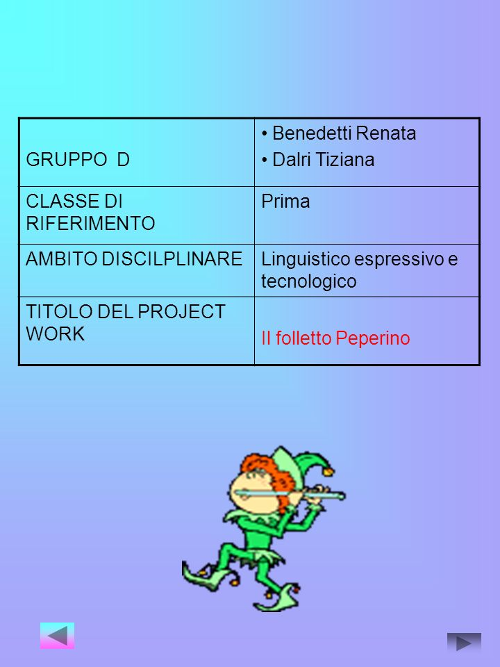 GRUPPO D Benedetti Renata. Dalri Tiziana. CLASSE DI RIFERIMENTO. Prima. AMBITO DISCILPLINARE. Linguistico espressivo e tecnologico.