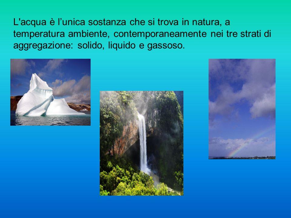 L acqua è l'unica sostanza che si trova in natura, a temperatura ambiente, contemporaneamente nei tre strati di aggregazione: solido, liquido e gassoso.