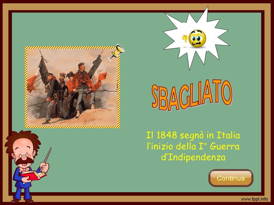 Il 1848 segnò in Italia l'inizio della I° Guerra d'Indipendenza