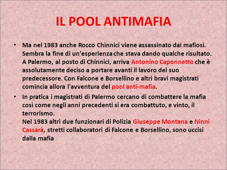 IL POOL ANTIMAFIA