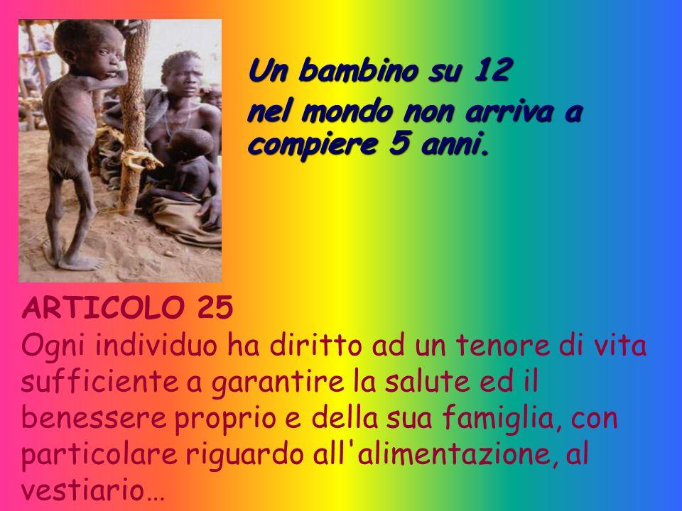 Un bambino su 12 nel mondo non arriva a compiere 5 anni. ARTICOLO 25.