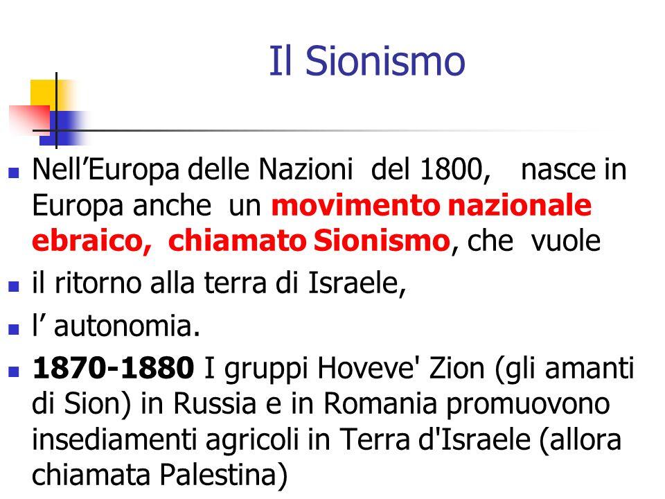 Il Sionismo Nell'Europa delle Nazioni del 1800, nasce in Europa anche un movimento nazionale ebraico, chiamato Sionismo, che vuole.