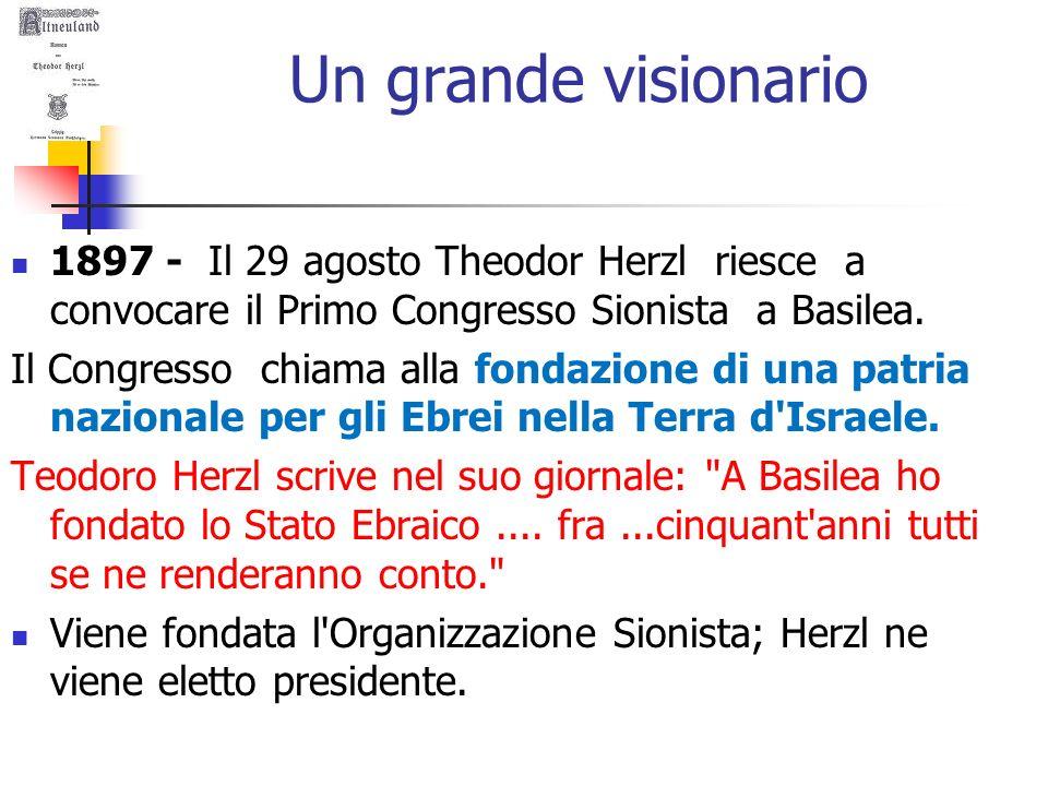 Un grande visionario 1897 - Il 29 agosto Theodor Herzl riesce a convocare il Primo Congresso Sionista a Basilea.