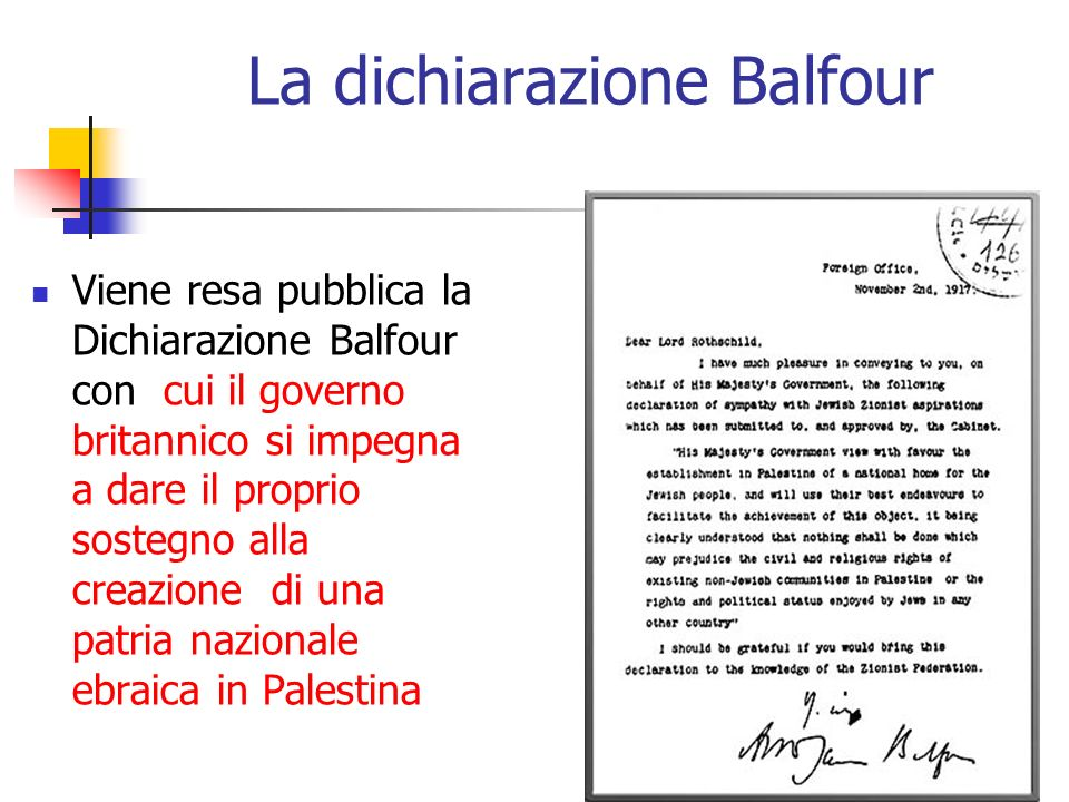 La dichiarazione Balfour