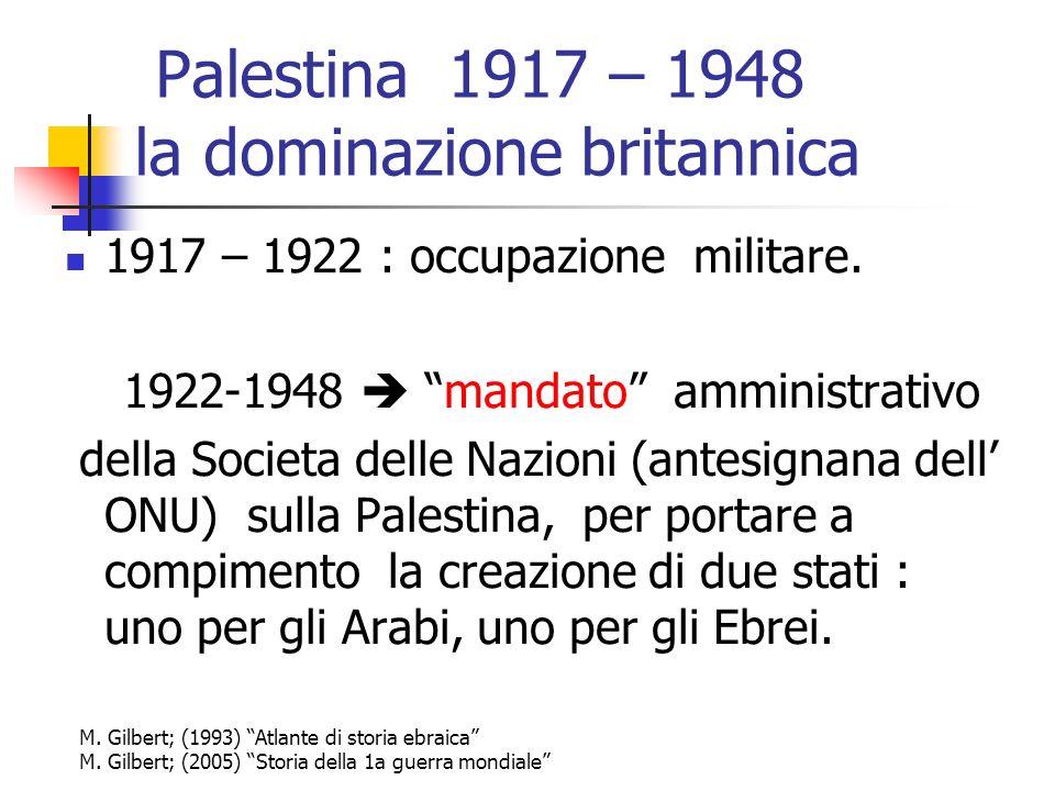 Palestina 1917 – 1948 la dominazione britannica