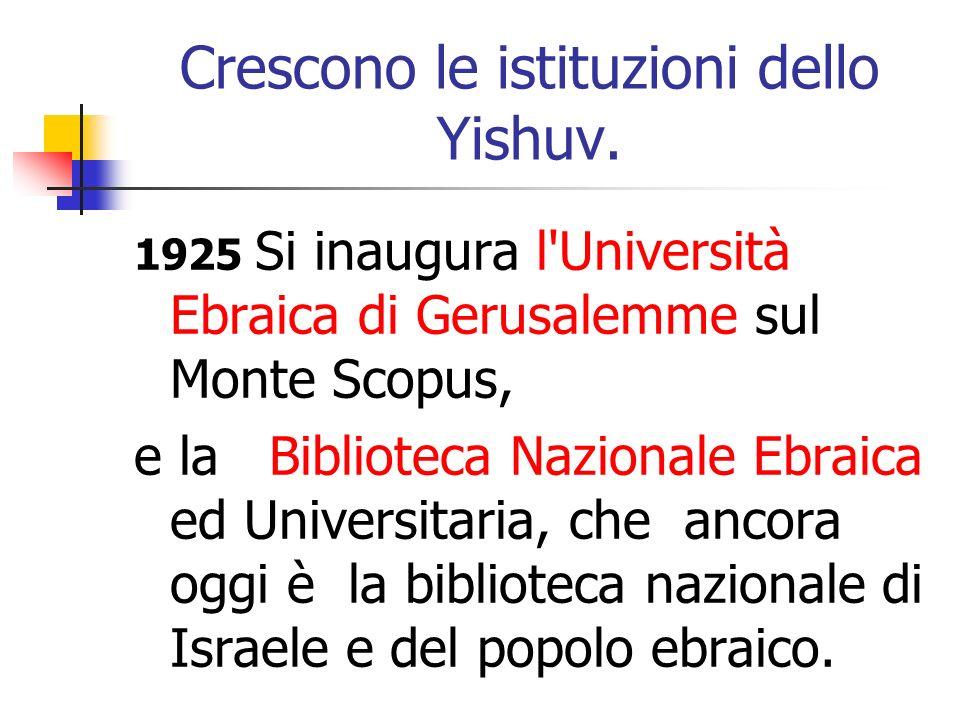 Crescono le istituzioni dello Yishuv.