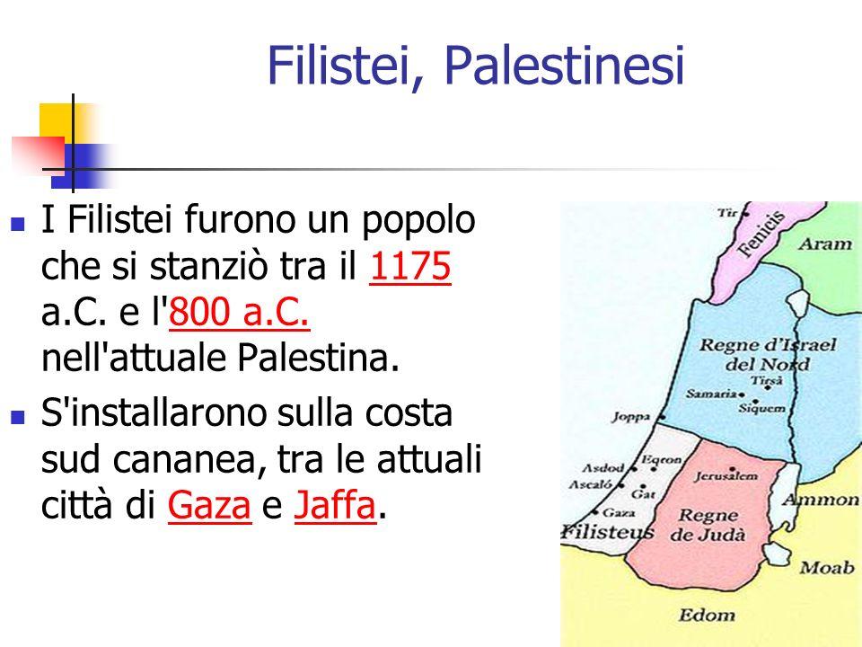 Filistei, Palestinesi I Filistei furono un popolo che si stanziò tra il 1175 a.C. e l 800 a.C. nell attuale Palestina.