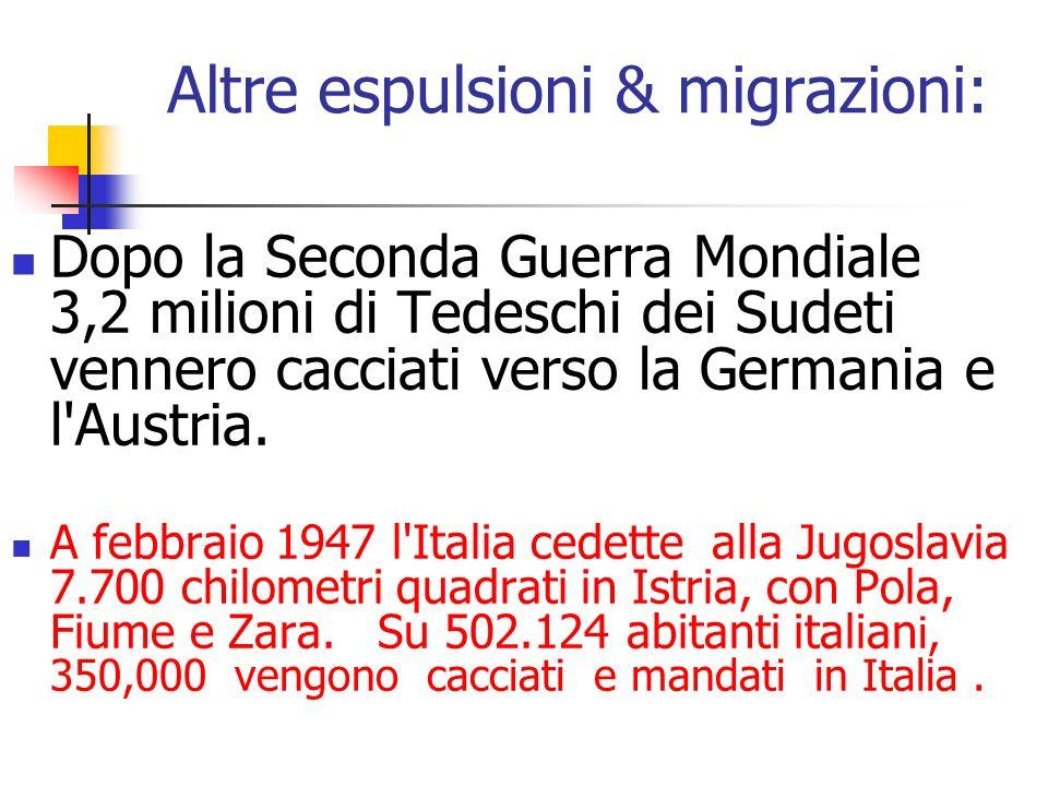 Altre espulsioni & migrazioni: