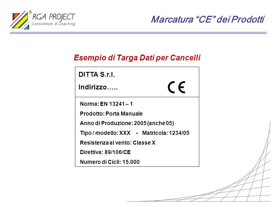 Esempio di Targa Dati per Cancelli