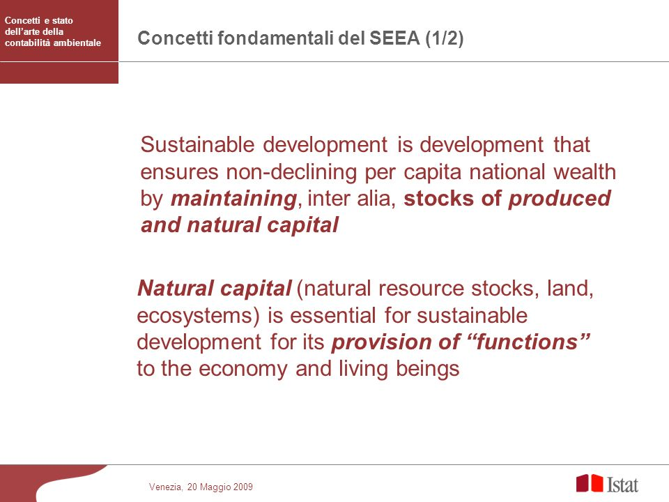 Concetti fondamentali del SEEA (1/2)