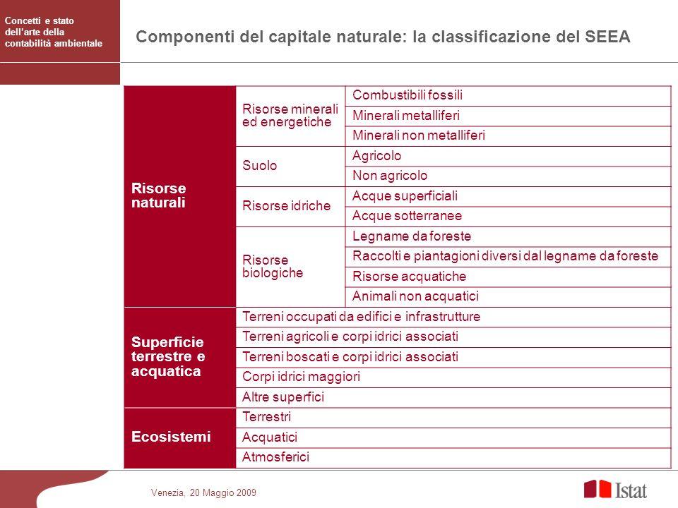 Componenti del capitale naturale: la classificazione del SEEA