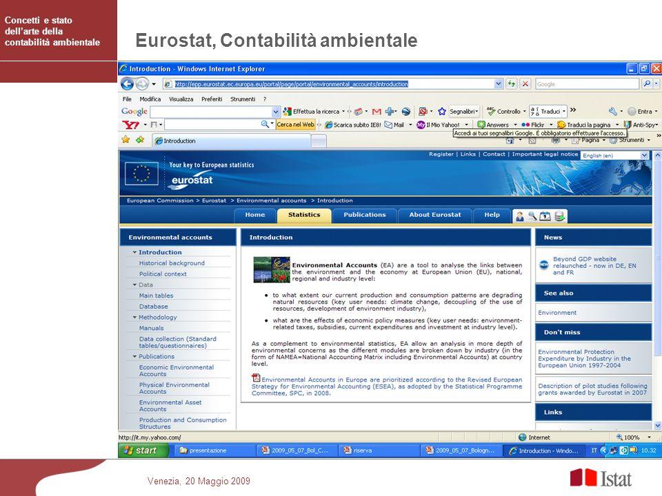 Eurostat, Contabilità ambientale