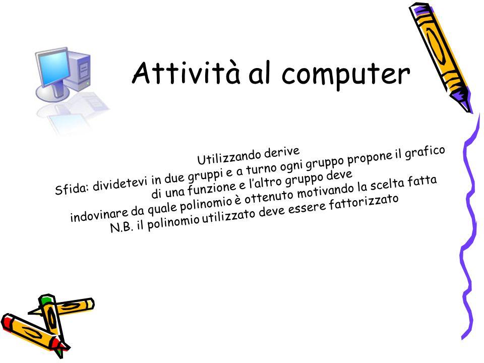 Attività al computerSfida: dividetevi in due gruppi e a turno ogni gruppo propone il grafico. Utilizzando derive.