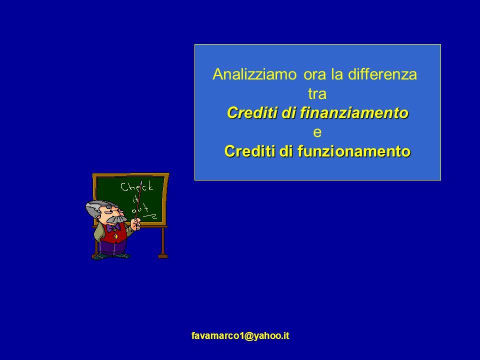Crediti di finanziamento Crediti di funzionamento