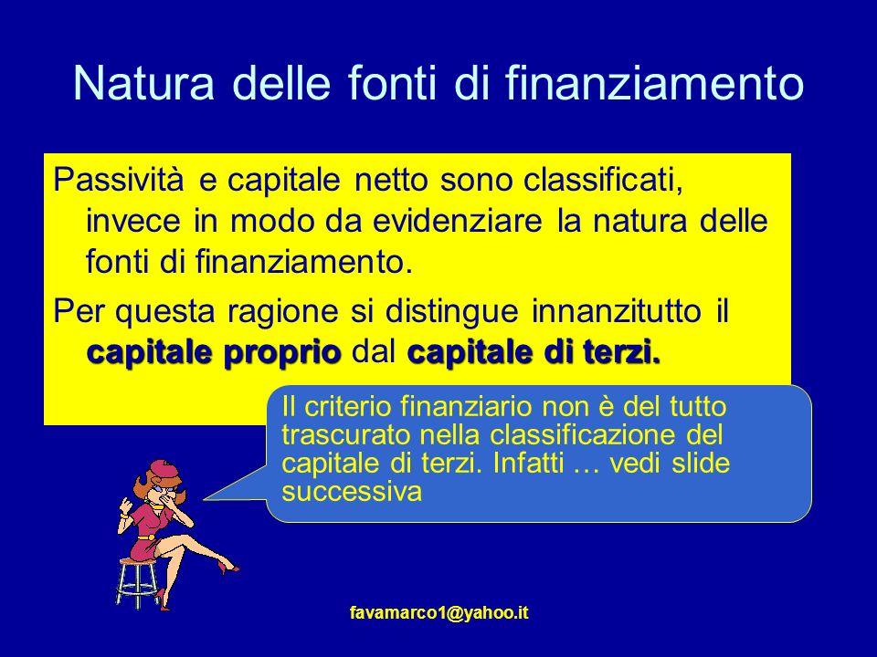 Natura delle fonti di finanziamento