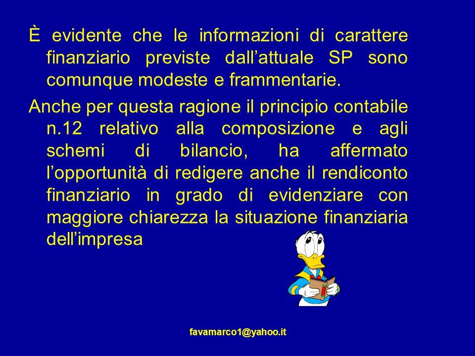È evidente che le informazioni di carattere finanziario previste dall'attuale SP sono comunque modeste e frammentarie.