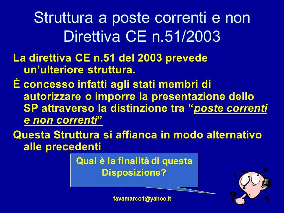 Struttura a poste correnti e non Direttiva CE n.51/2003