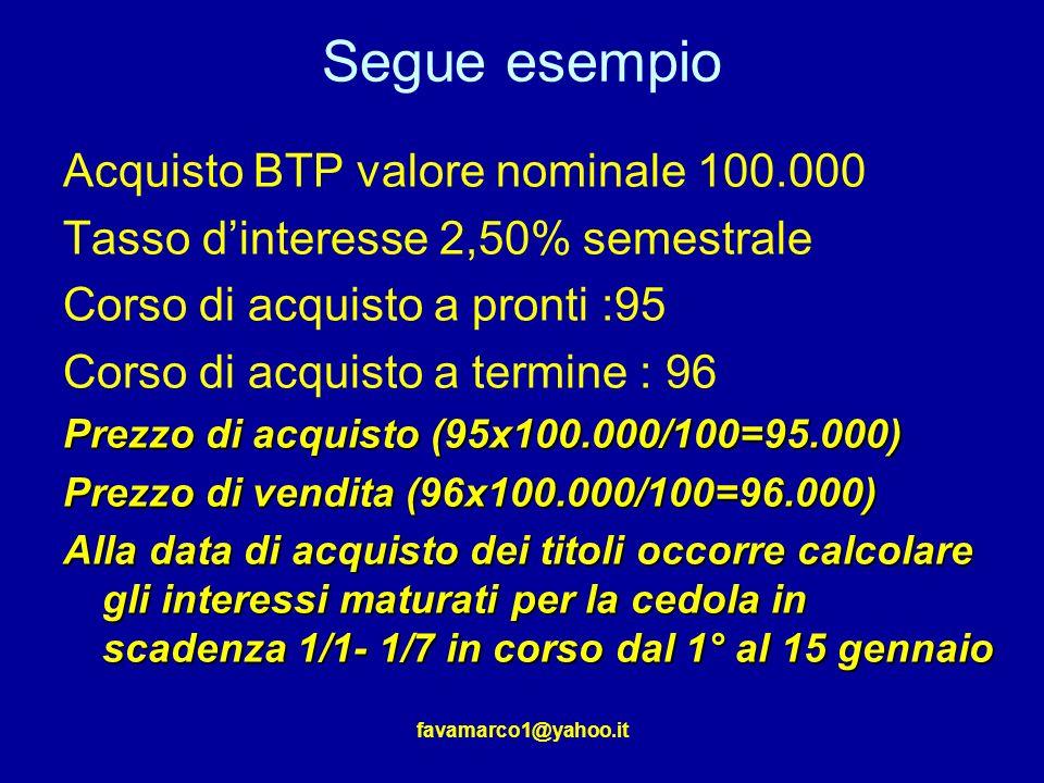 Segue esempio Acquisto BTP valore nominale 100.000