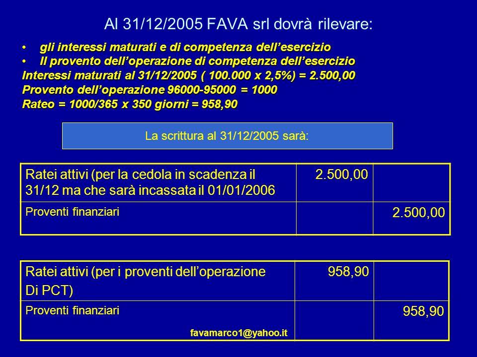 Al 31/12/2005 FAVA srl dovrà rilevare: