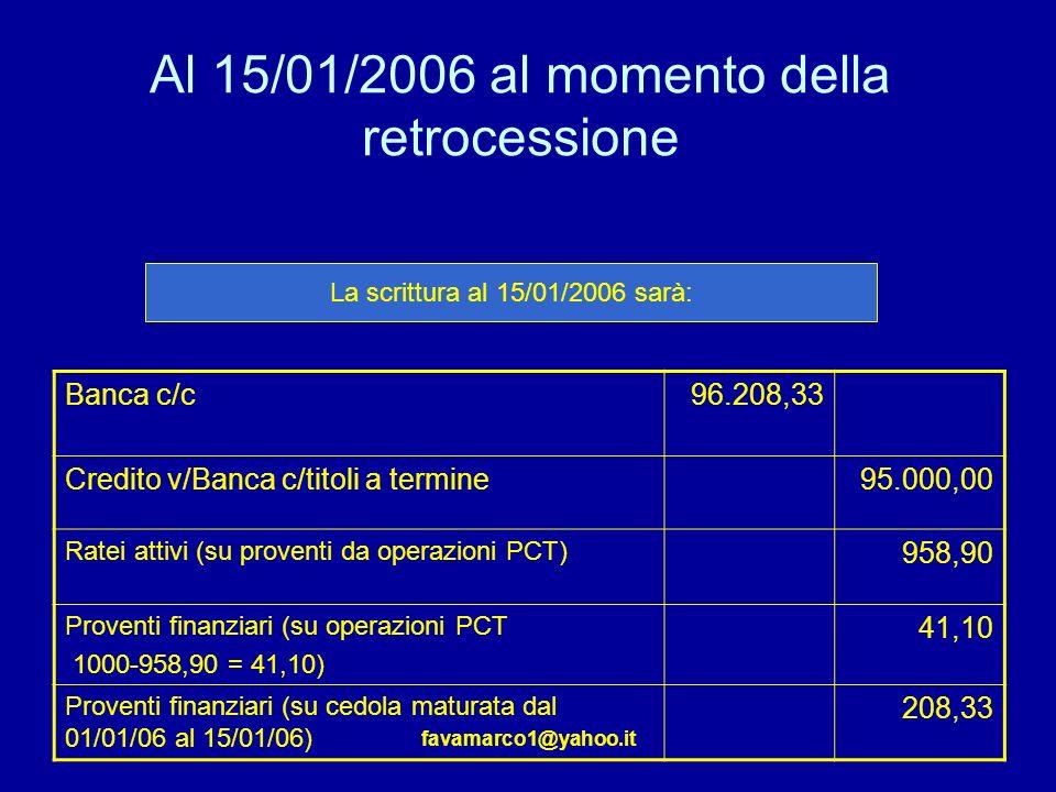 Al 15/01/2006 al momento della retrocessione