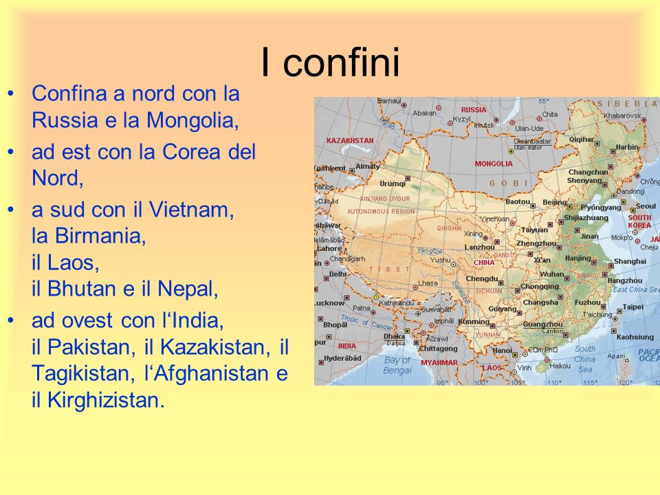 I confini Confina a nord con la Russia e la Mongolia,