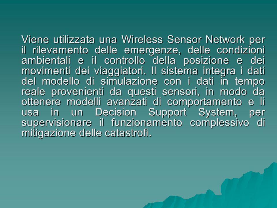 Viene utilizzata una Wireless Sensor Network per il rilevamento delle emergenze, delle condizioni ambientali e il controllo della posizione e dei movimenti dei viaggiatori.