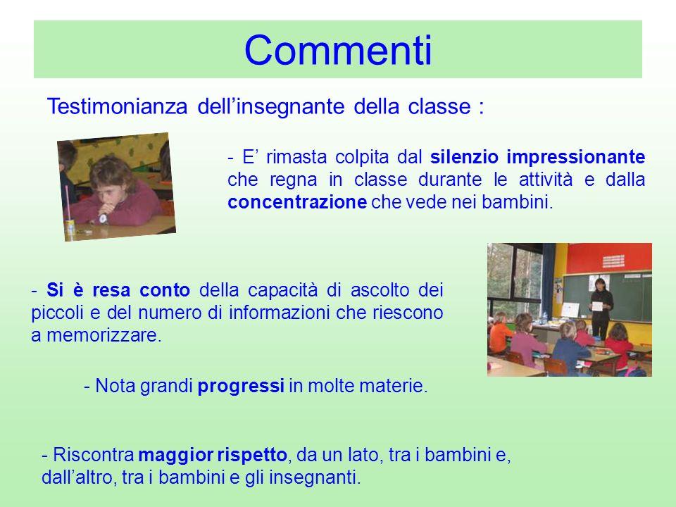 Commenti Testimonianza dell'insegnante della classe :