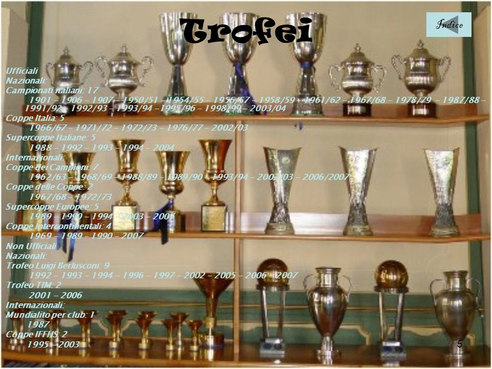 Trofei Indice Ufficiali Nazionali: Campionati italiani: 17
