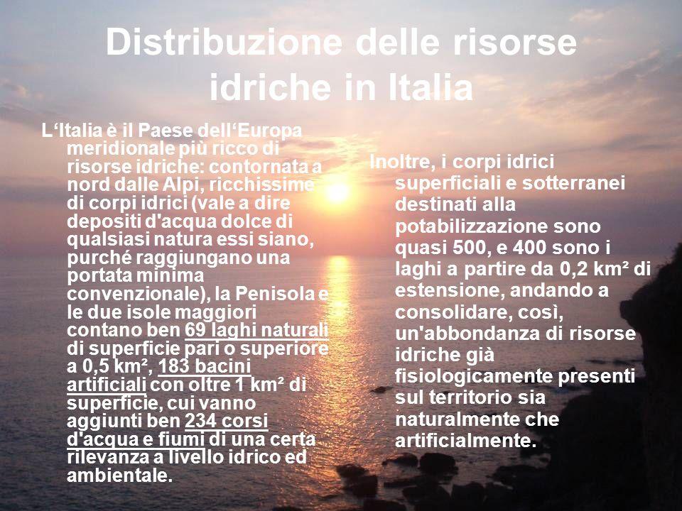 Distribuzione delle risorse idriche in Italia