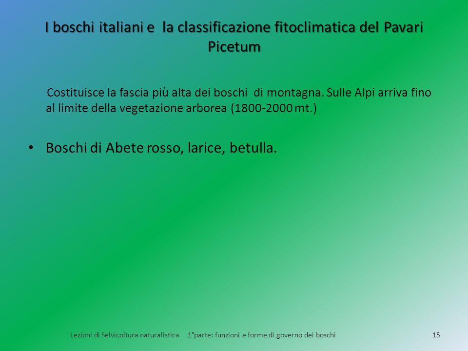 I boschi italiani e la classificazione fitoclimatica del Pavari Picetum