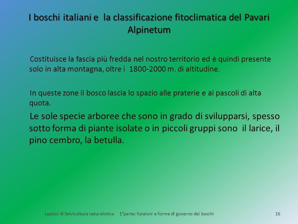 I boschi italiani e la classificazione fitoclimatica del Pavari Alpinetum