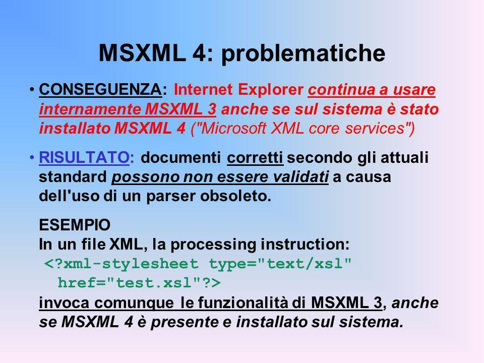MSXML 4: problematiche