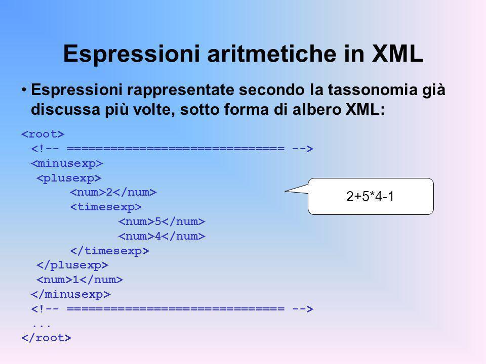 Espressioni aritmetiche in XML