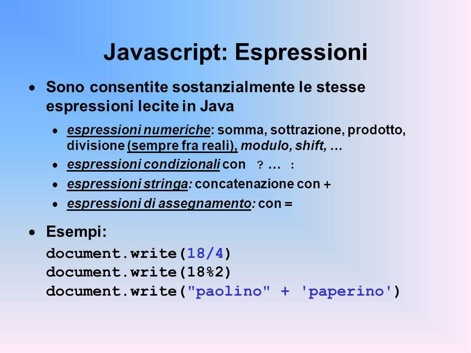 Javascript: Espressioni