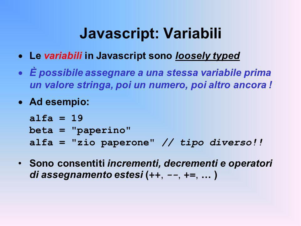 Javascript: Variabili