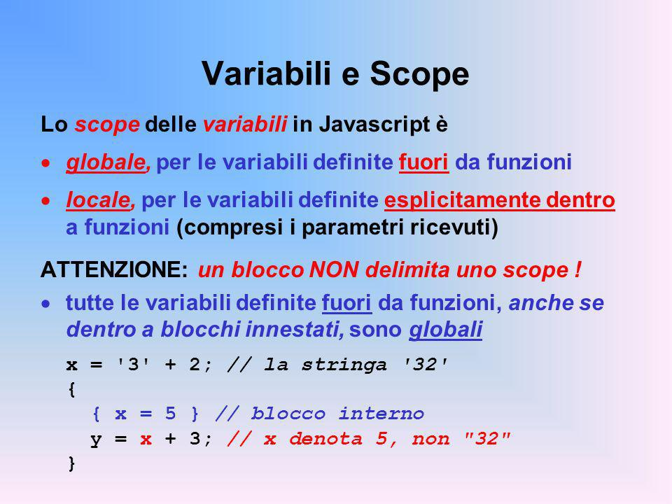 Variabili e Scope Lo scope delle variabili in Javascript è