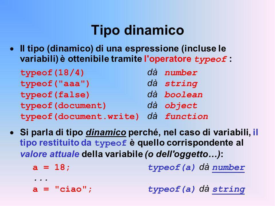 Tipo dinamico Il tipo (dinamico) di una espressione (incluse le variabili) è ottenibile tramite l operatore typeof :
