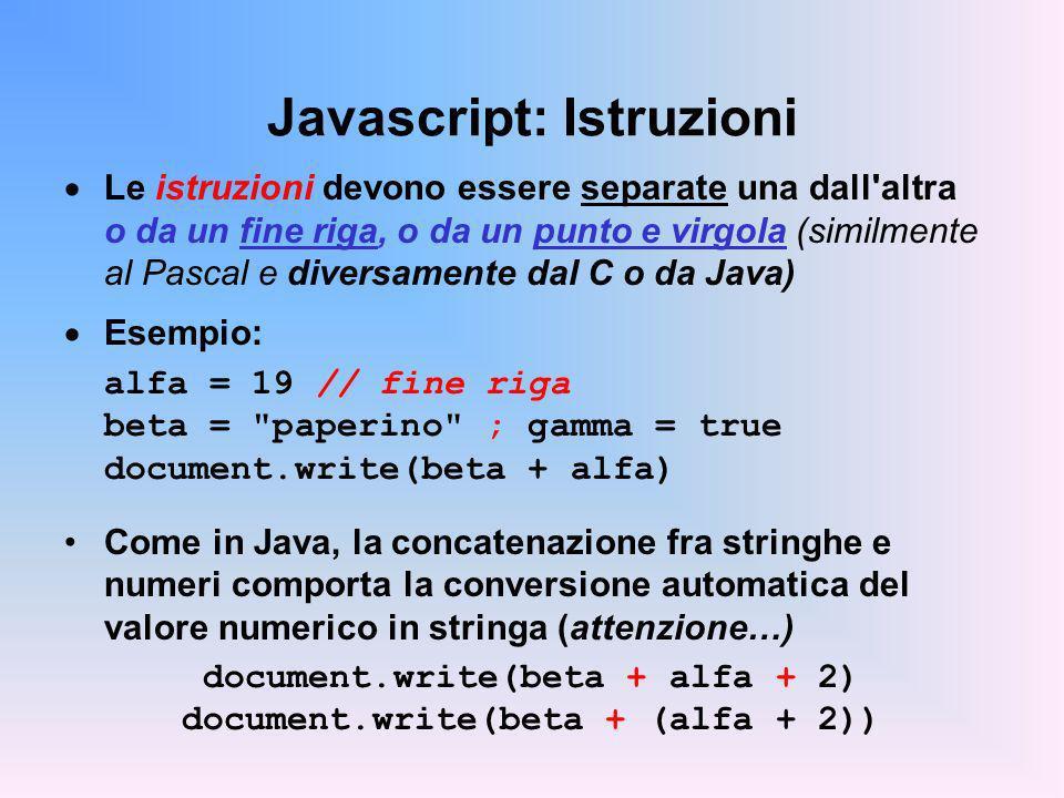 Javascript: Istruzioni