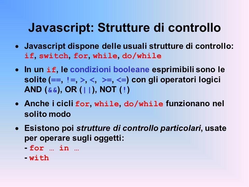 Javascript: Strutture di controllo