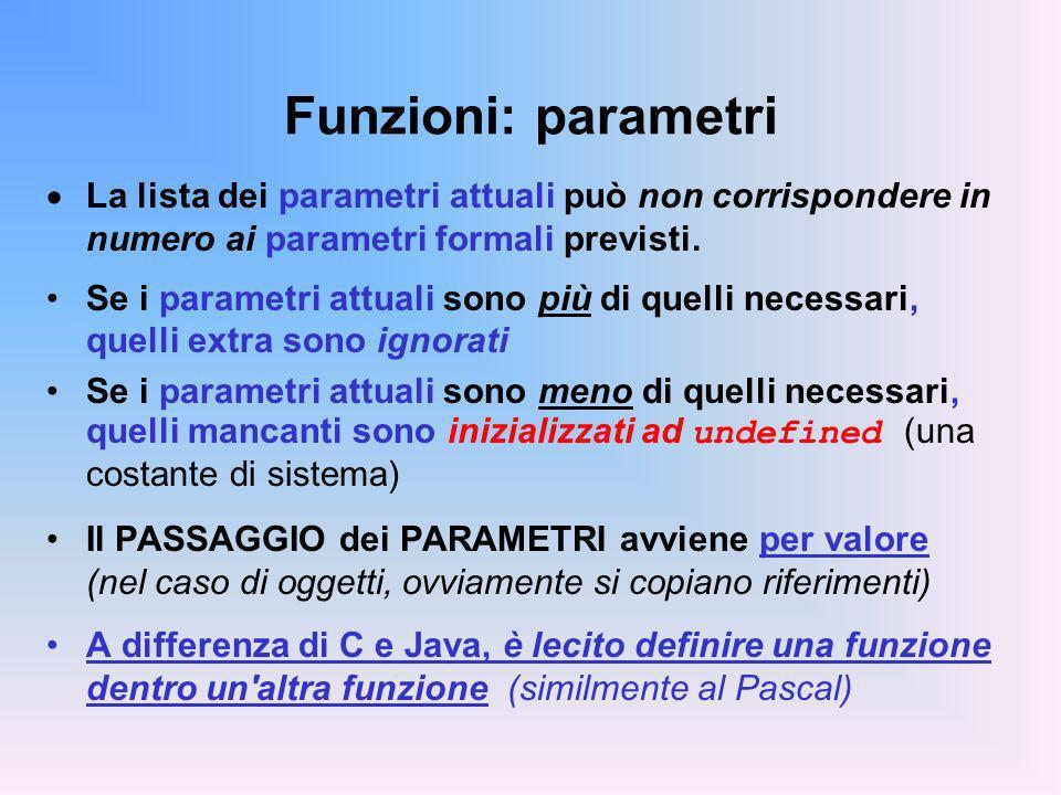 Funzioni: parametri La lista dei parametri attuali può non corrispondere in numero ai parametri formali previsti.